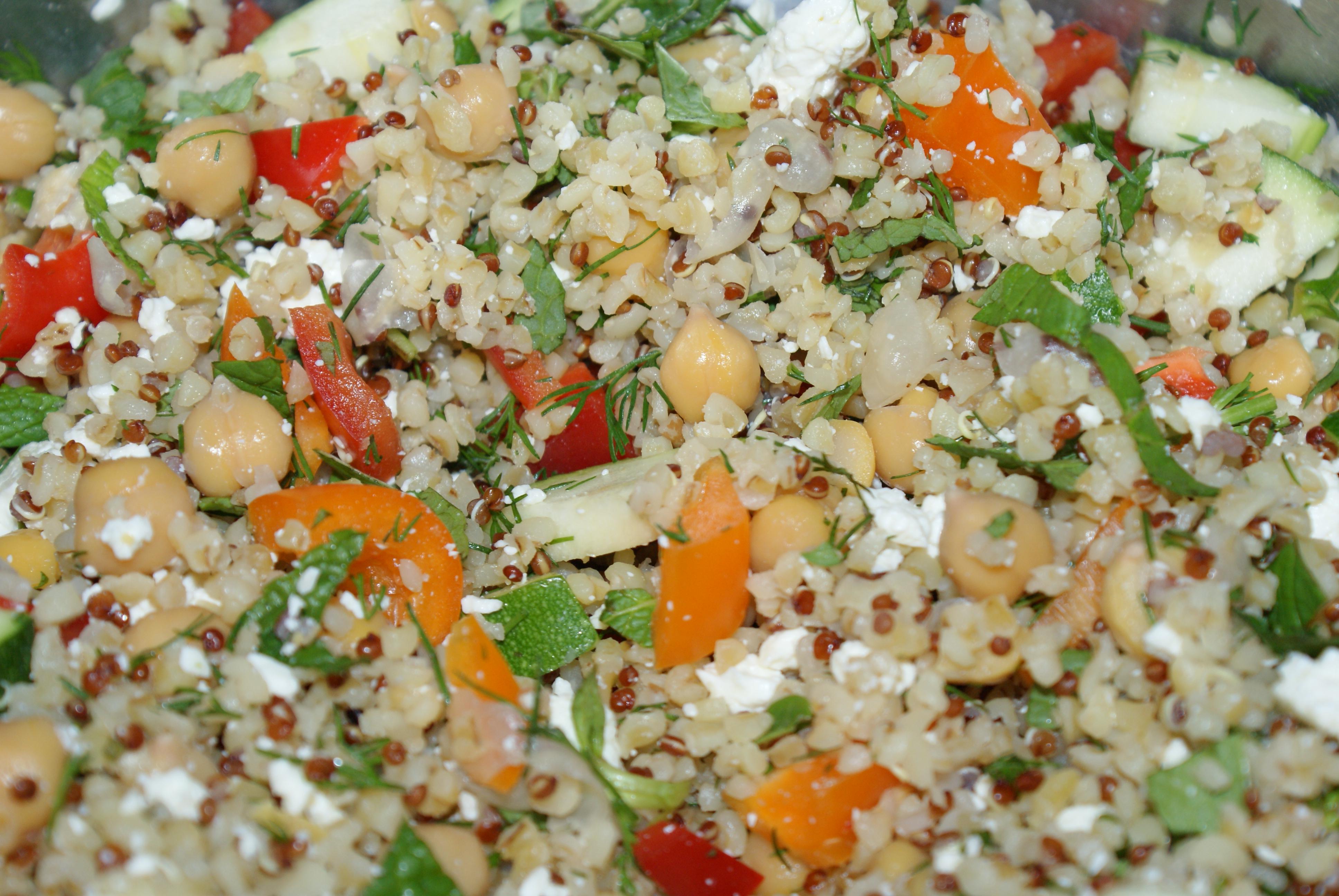 Bulgar, Quinoa and Cheakpea kinda Greek Salad | Hayley Runs and Eats